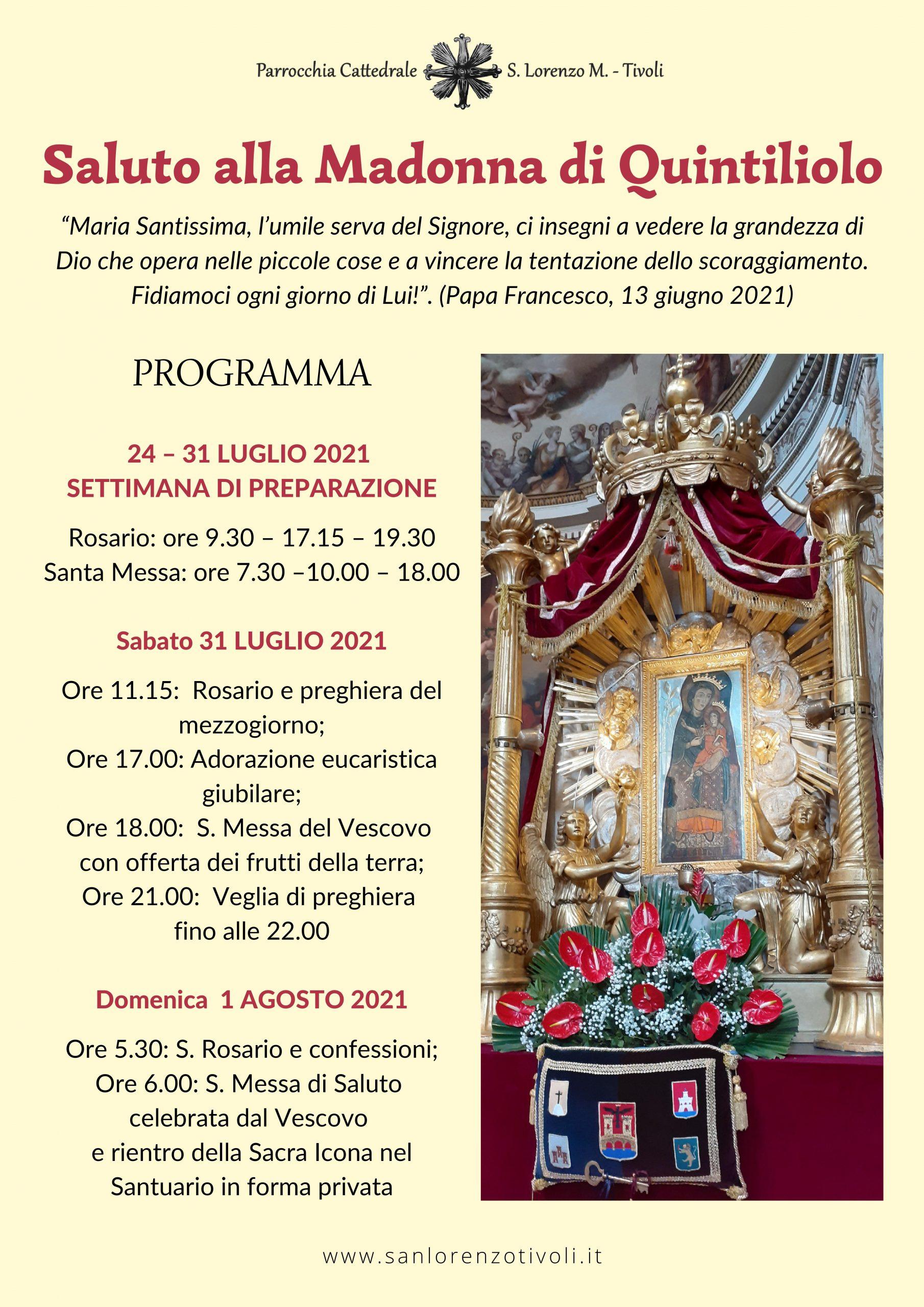 Saluto alla Madonna di Quintiliolo. Il Programma