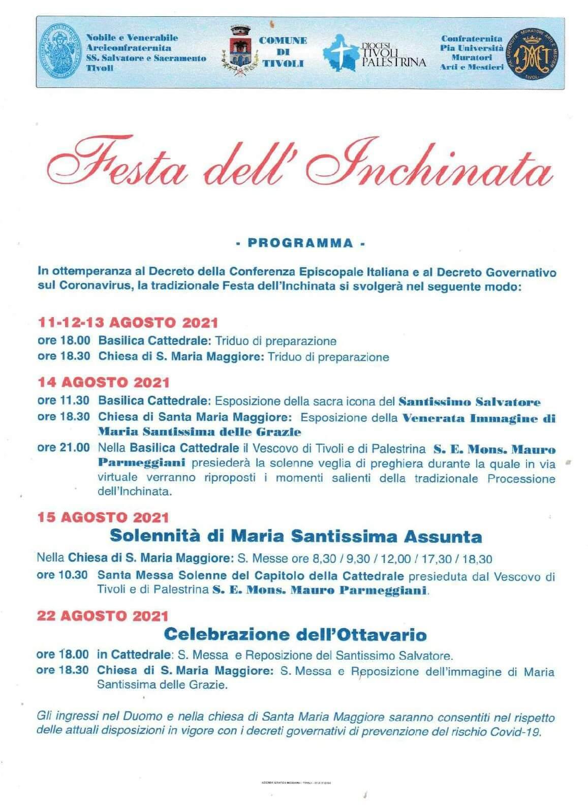 Festa dell'Inchinata 2021 senza processione. Esposizioni e Veglia di Preghiera il 14 agosto