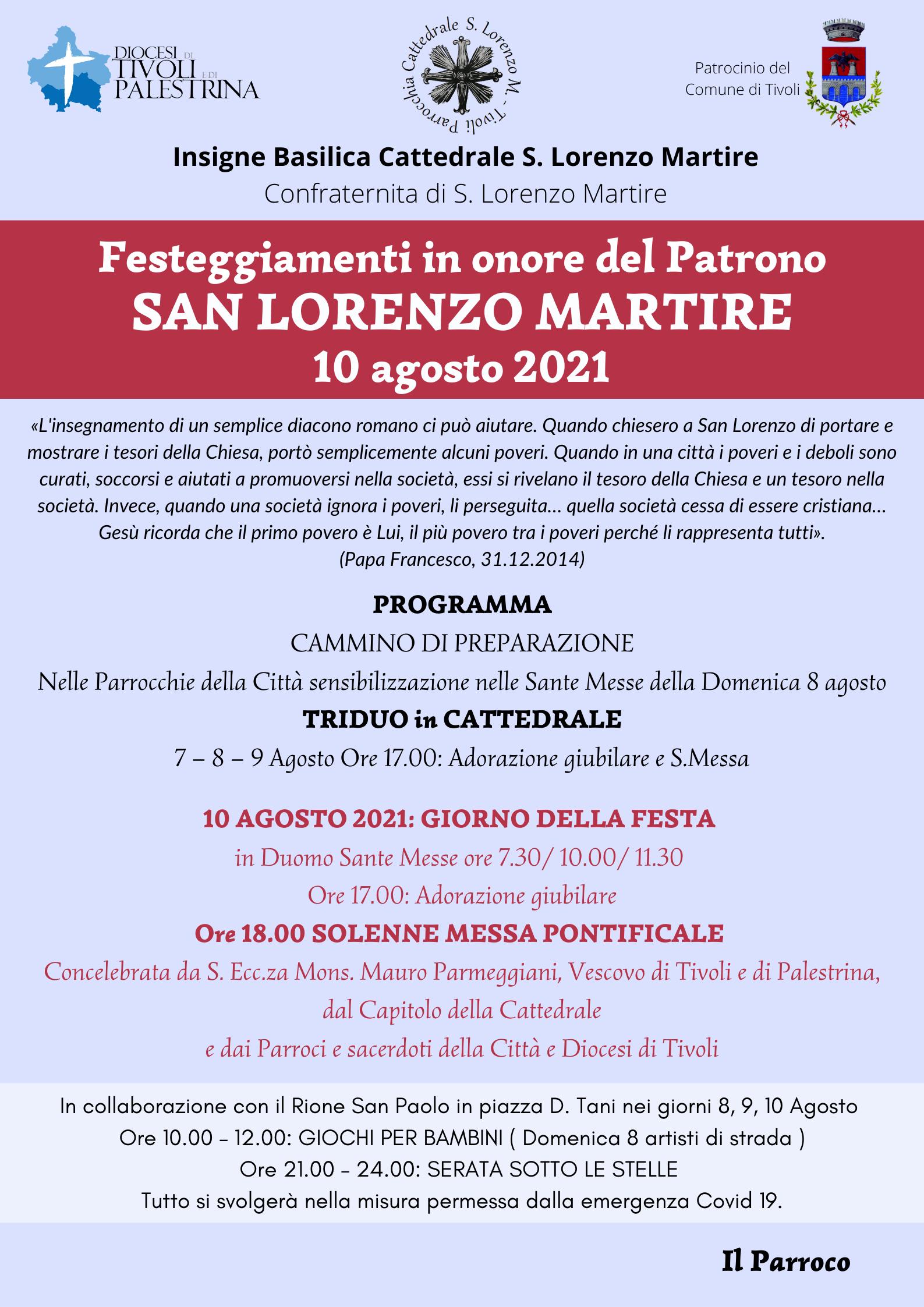 Festa di San Lorenzo Martire. Il Programma