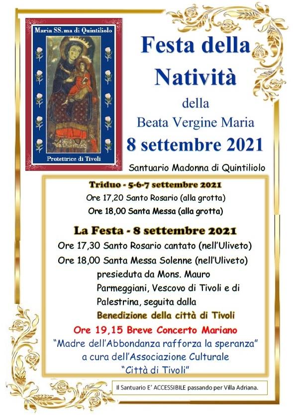 Festa della Natività di Maria a Quintiliolo. Il programma